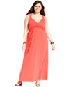 Plus Size Dress, Spaghetti-Strap Empire-Waist Maxi