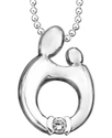 Sterling Silver Necklace, Diamond Accent Mother an