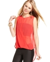 Juniors Top, Sleeveless Sheer High-Low