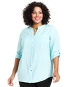 Plus Size Top, Three-Quarter-Sleeve Shirt