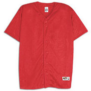 Mesh Full Button Baseball Jersey - Mens - Scarlet