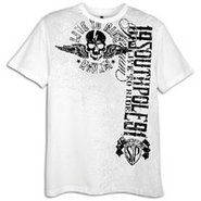 Flock and Screen Print S/S T-Shirt - Mens - White