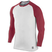 Pro Combat Fitted L/S MLB Top - Mens - White/Varsi