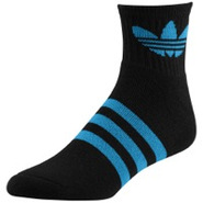 Originals Trefoil Quarter Sock - Mens - Black/Turq
