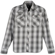 Plaid Patch Long Sleeve Woven - Mens - Black