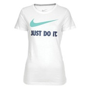 JDI Swoosh Short Sleeve T-Shirt - Womens - White