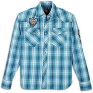 Plaid Patch Long Sleeve Woven - Mens - Deep Blue