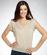 V-Neck Pleated Top T-shirt