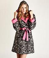 Double Faced Micro Fleece Short Robe with Hoodie S