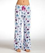 Novelty Coffee Print Microfiber Fleece Pajama Pant