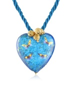 Murano Glass Heart Pendant with Lace