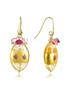 Murano Glass Oval Bead Drop Earrings