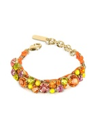 Orange Yellow and Pink Crystals and Brass Bracelet