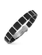 Men&#39;s Rubber and Stainless Steel Link Bracelet