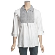 Project Cotton Tunic Shirt - 3/4 Sleeve (For Women
