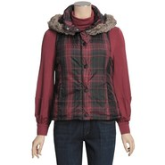 True Grit Printed Puffers Hooded Vest - Faux Fur (