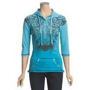 Rock and Roll Cowgirl Tribal Cross Henley Hoodie S