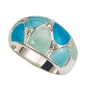 Enamel Elegance Ring in Turquoise-Color