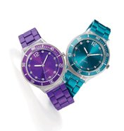 Metallic Bracelet Watch in Purple & Teal