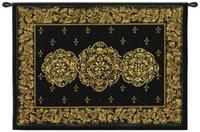 Black Medallion 53  Wide Wall Hanging Tapestry (J8