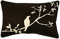 Black and Beige Bird Lumbar Pillow (J8421)