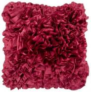 18  Square Cerise Red Ruffled Accent Pillow (V1718