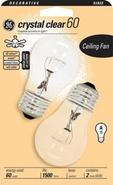 60 Watt Crystal Clear 2-Pack Ceiling Fan Light Bul