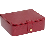Lizard Print Calf Stud/Ring Box - Red