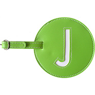 Leather Initial &#39;J&#39; Luggage Tags Set of 2 Green - 