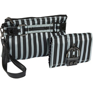 Stripe Cosmetic Wristlet and Wallet - Steel