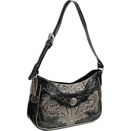 Renegade Collection Zip-Top Shoulder Bag Black - A