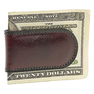 Old Leather Magnetic Money Clip - Dark Brown