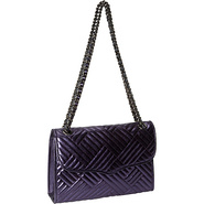 Metallic Line Quilted Affair Shoulder Bag Navy - R