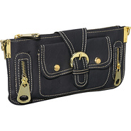 Gold Toned Hardware Clutch - Black