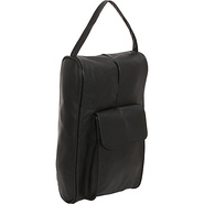 Leather Golf Shoe Bag - Black