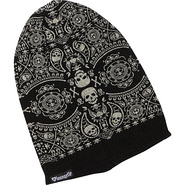 Black &amp; Cream Skull Knit Beanie Black/cream - Loun
