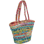 Straw Tote With Multi Fabrics - Tote