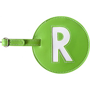 Leather Initial &#39;R&#39; Luggage Tag Set of 2 Green - p