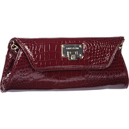 Croco Luxe Clutch Merlot - Anne Klein Manmade Hand