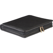 Zippered Leather Three Ring Binder Black - ClaireC