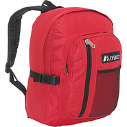 Backpack with Front Mesh Pocket - Red/Black