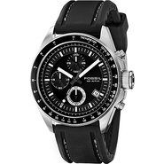 Decker - Men&#39;s Black PU Chrono Watch Black - Fossi