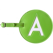 Leather Initial &#39;A&#39; Luggage Tag Set of Two Green -
