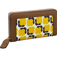 Floating Flower Print Big Zip Wallet Sun Yellow -