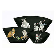 Cats and Dogs Embroidered Cosmetic 3 Piece