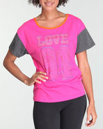 Women Shortsleeve Raglan Tee Pink Large