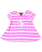 Girls Stripe Tee W/ Lace Back (4-6X) Pink 6X