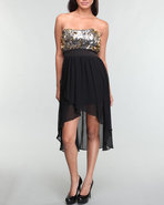 Xoxo Women Fabric Mix Sequin Dress Black 00