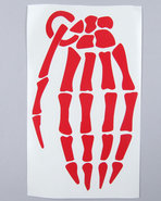 Men Skeleton Grenade 9  Die Cut Sticker Red
