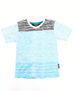 Boys Slub Striped V-Neck Tee (4-7) Blue 4 (S)